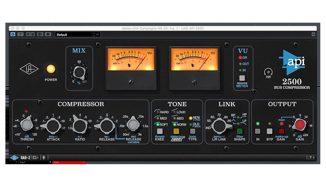 Settaggio Neutral AgeofAudio - API 2500 Bus compressor per UAD